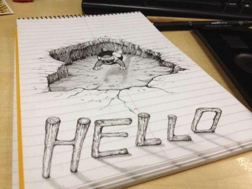 Как рисовать 3д рисунки на бумаге карандашом для начинающих